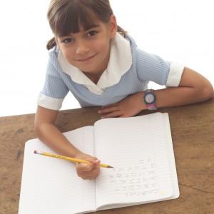 student writing school