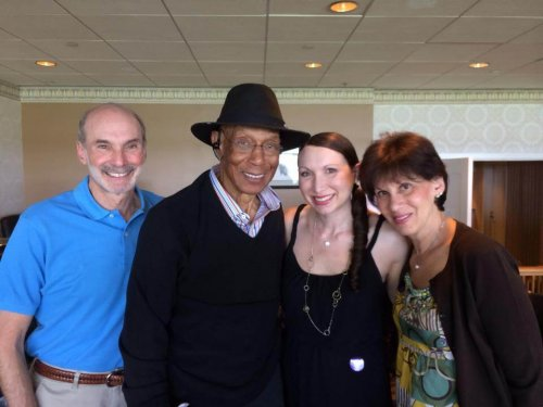 Yale Gordon, Ernie Banks, Kelly Kaufman and Laurie Gordon at Arlington Race Course at Cubs day honoring Ernie Banks (May 2014)