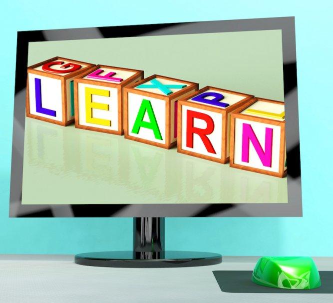 Learn Blocks On Computer Screen Shows Online Kids Education